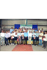 Group Photo with distinguished guests from Tata Steel and SKM during - 10 years' service award - 2015 function