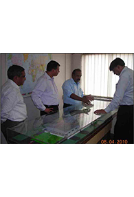 Mr. Prince K. Philip - Head Works explaining the layout of SKM Metal Processors to  Mr.Piyush Gupta - VP Marketing from Tata Steel Ltd. in the presence of Mr. Anurag Pandey and Mr. Amruth Lal Kothari - Director SKM Steels Ltd.