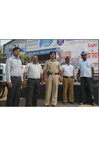 Road Safety Initiative : Mr.Patwal - Sr. Inspector - Traffic Police - Maharashtra State along with SKM officials during the road safety initiative at SKM